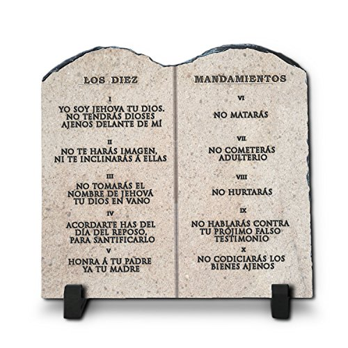 Los Diez Mandamientos  Superior Religious Inspirational Home Décor By InspiraGifts Polished Slate   Christian Home Plaque Stone Gift (7.8X7.8)