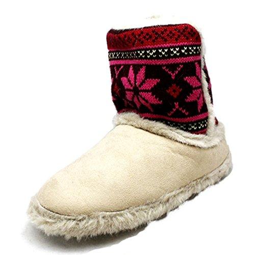 Piel de las señoras con bordes botas zapatilla superior hecha punto Beige