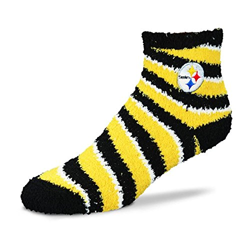 Pittsburgh Steelers Candy Cane Stripe Women's Fuzzy Sleep Sock - For Bare Feet (Pittsburgh Slippers Nfl Steelers)