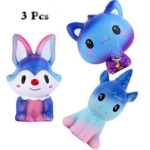 Anboor Squishies Galaxy Fox,Unicorn Horse and Bear Kawaii Soft Slow Rising Scented Animal Squishies Stress Relief Kid Squeeze Toys Gift,3 Pcs by Anboor