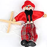 Wooden marionette PULL clown toys for children(red)