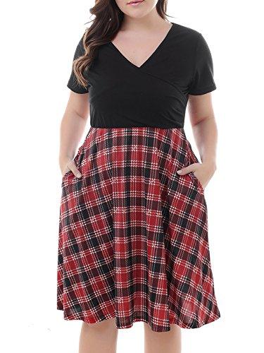 (Nemidor Women's V-Neck Print Pattern Casual Work Stretchy Plus Size Swing Dress (Black+Grid, 16W))