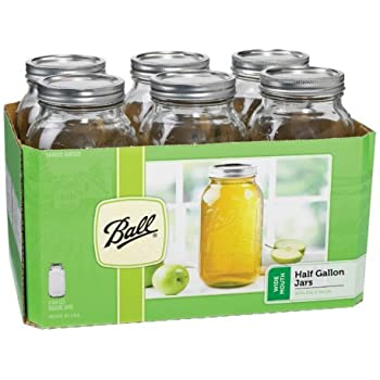 Ball Wide Mouth 1/2 Gal. Glass Jars 6 Pack   Includes lids with bands (64 OZ)