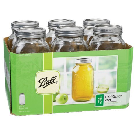 Ball Wide Mouth 1/2 Gal. Glass Jars | Includes lids with bands (64 OZ) 6 packs (2)