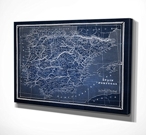 Wexford Home ''Spain Sketch Map Blue'' Canvas Art, 30'' x 40'' by WEXFORD HOME