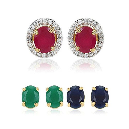Zeneme Multicolor Gold-Plated 6 In 1 Interchangeable Stud Earrings For Women/Girls