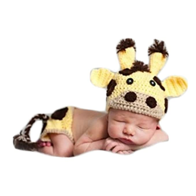 a7abac5c02702 Newborn Baby Photography Shoot Props Boy Outfits Crochet Knit Cattle Cow  Hat Shorts Photo Props