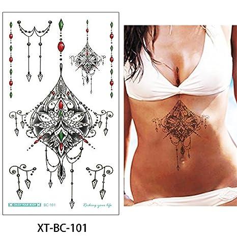 d63eeef32aa8b Amazon.com : 5 Sheets 13.8x24cm Sternum Chest Temporary Tattoo Big Body Art  Sticker Jewelry Pendant : Beauty