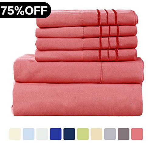 Friends Full Sheet Set - WARM HARBOR Microfiber Sheet Set Super Soft 1800 Thread Count Deep Pocket Bed Sheets Wrinkle, Fade, Stain Resistant Hypoallergenic -6 Piece(Coral, Full)