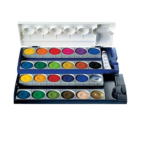 Pelikan Opaque Watercolor Paint Set, 24 Colors Plus Chinese White Tube (720862)