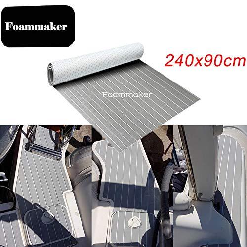 EVA Foam Faux Teak Sheet Boat Yacht Synthetic Teak Decking Marine Mat, Grey - 35.4 x 94.5 inches