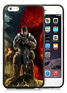 DIY Case Design with Case Gears Of War Skull Soldier Sky Mountains Marcus Fenix iphone 6 PLUS 5.5 INCH TPU Case in Black