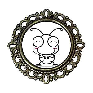 Chicforest Ancient Style Happy Lovely Ant Flower Pin Brooch