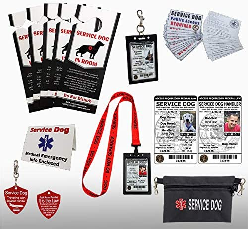 ActiveDogs Official Service Dog Travel Kit + Medical Emergency Info Card + ADA Public Access Cards + Service Dog in Room Door Placards