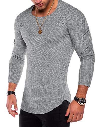 3b45d4f6 BELLEZIVA Mens Pullover Shirts Muscle Slim Fit Long Sleeves Tee Tops Hip  Hop Sweatshirt Casual Solid