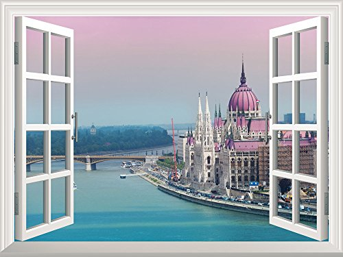 Removable Wall Sticker Wall Mural Beautiful View of a Grand Palace by a River Creative Window View Wall Decor