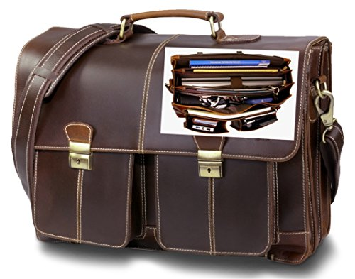 Top Quality Leather Business Briefcase / Messenger bag / Vintage Full Grain Satchel / 15.6 inch Computer bag. Easy-Open Handcrafted timeless design by Andiamo Exclusive. 11 Compartment Laptop Bag. by Andiamo Exclusive