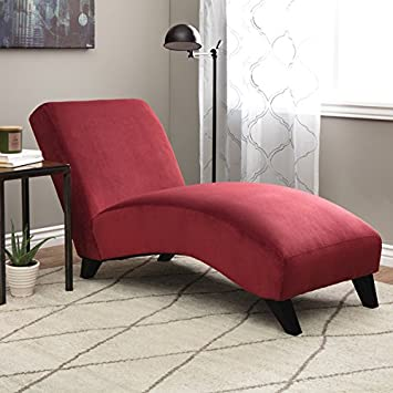 Contemporary-Modern Solid Fabric - Plastic - Velvet - Wood Bella Chaise Berry