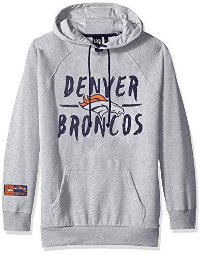 NFL Denver Broncos Women's Fleece Hoodie Pullover Sweatshirt Tie Neck, Medium, Heather Gray