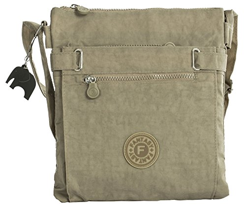 Beige Lightweight Zip with Messenger Shoulder Bag Elephant Compartment Shop Fabric Charm Big Multi Handbag Crossbody P06ExE