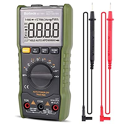 Digital Multimeter,DC AC Voltage Current Capacitance Resistance NCV True RMS Diode Tester of 6000 Count,Borbede 168A Mini Portable ¡­
