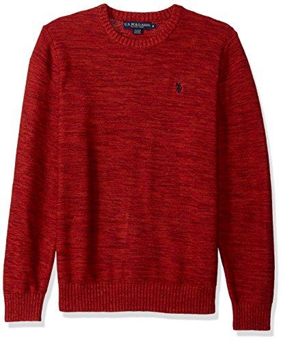 U.S. Polo Assn. Men's MARL Reverse Jersey Crew Neck Sweater, Fire MARL, Medium