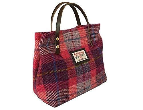 Tweed Bubble (Harris Tweed ladies Runner Bag - Bubble Gum plaid design hand made in Scotland)