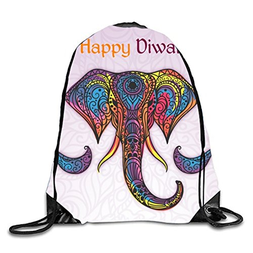 Drawstring Backpack Gym Sack Pack Hand Drawn Colored Ornamental Elephant Background Of Happy Diwali Christmas Gift Bags by Cecil Rob