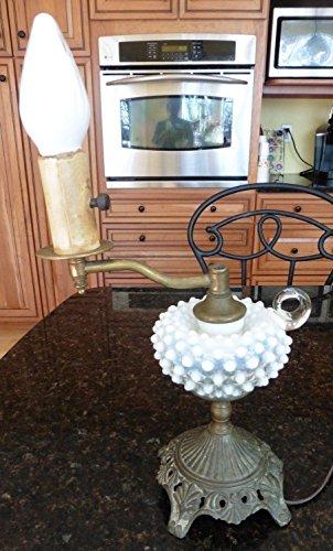 Vintage hand blown white glass HOBNAIL BRASS Electric hurricane Lamp lantern