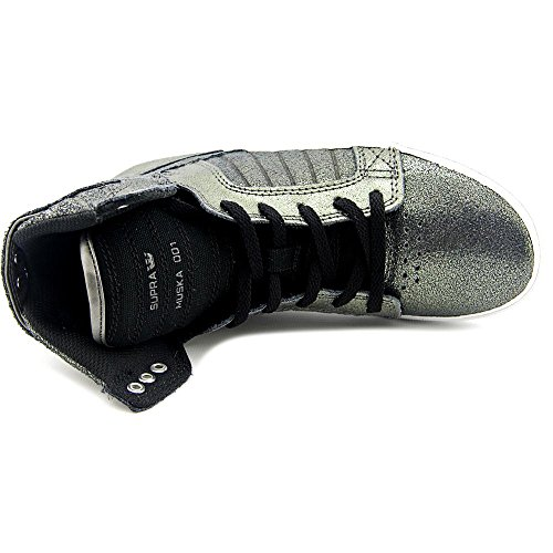 Pewter da Alto Supra Sneakers a black Leather Uomo Collo Canvas aqwgYI