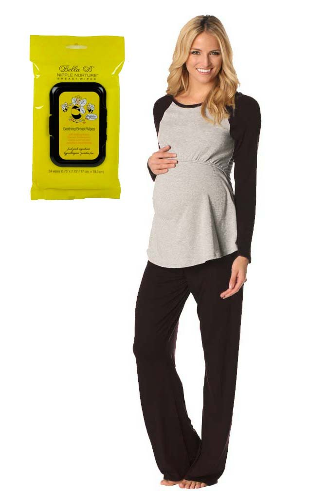 Bundle 2 Item Majamas Pastime Maternity Nursing Pajama Set Blk M+ Breastwipes