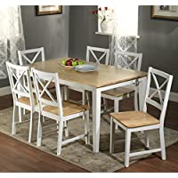 Simple Living Crossback White/ Natural 7-piece Wood Dining Set