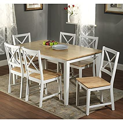 Simple Living Crossback White/ Natural 7 Piece Wood Dining Set