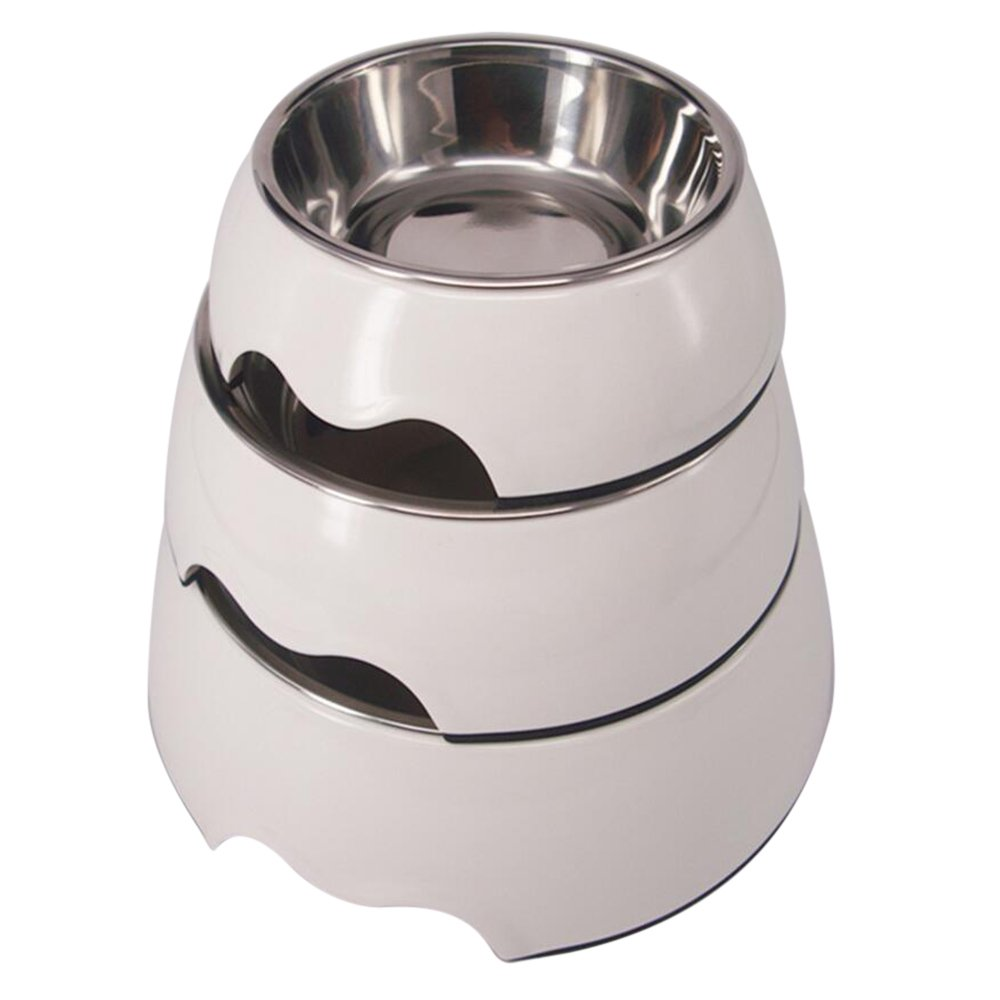 Quno Cute White Melamine Stainless Steel Dog Cat Pet Food Water Bowls Set of 3