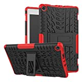 SODIAL(R) Kickstand Shockproof and High Impact Resistant Heavy Duty Hybrid Protection Case Cover for All-New Fire HD 8 Tablet (7th Generation, 2017 Release) (Red)