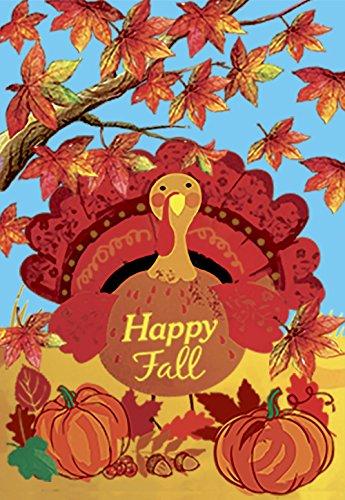 Morigins Happy Fall Turkey Garden Flag Double Sided,Decorati