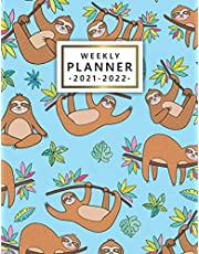 2021-2022 Weekly Planner: Pretty Sloth Two-Year Agenda, Diary, Calendar | Organizer with Holidays, To Do Lists, Vision Boards, Notes | Amazing Tropical Leaves Print