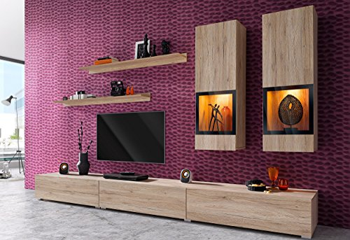 Duros Entertainment Center / Contemporary Design Wall Unit / With or Without Multicolor LED Lighting system (Sonoma oak) (Centers Entertainment Wall Units)