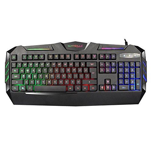 Keyboards Gaming K3 USB Wired Illuminated Colorful LED Backlight Multimedia PC Keyboard BK