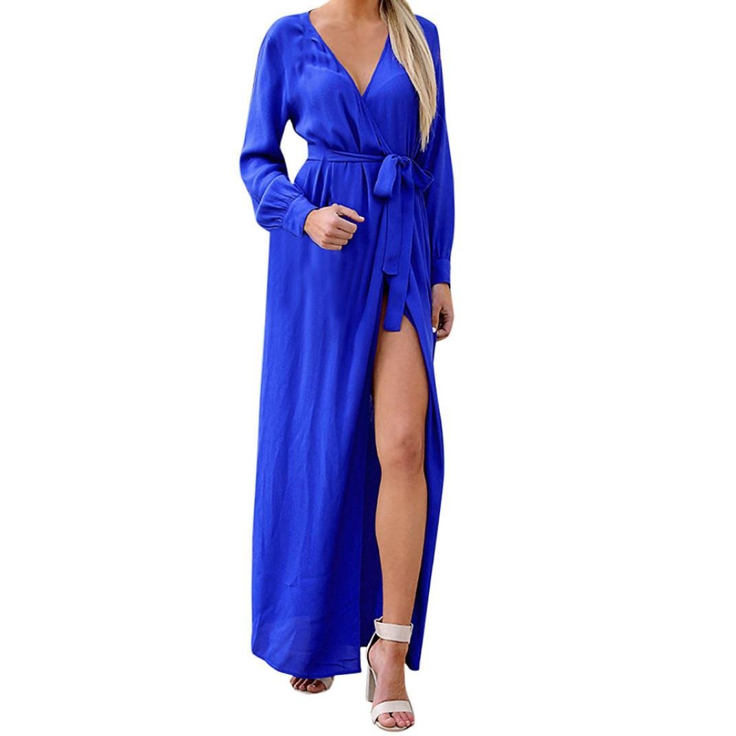 Minisoya Women Casual Long Sleeve V-Neck Belted Bandage Cocktail Evening Party Dress Loose Beach Long Maxi Dress (Blue, X-Large)