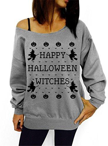 lymanchi Women Halloween Costume Off Shoulder Tops Casual Pullover Slouchy Sweatshirt A Grey -