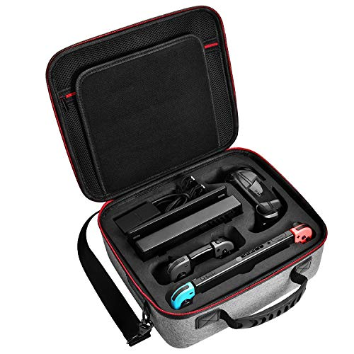 (Deluxe Carry Case for Nintendo Switch, Diocall Hard Travel Case Fit Nintendo Switch System and Pro Controller, Grey)
