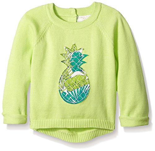 Price comparison product image Rosie Pope Little Girls Pineapple Long Sleeve Sweater, Sharp Green, 18 Months