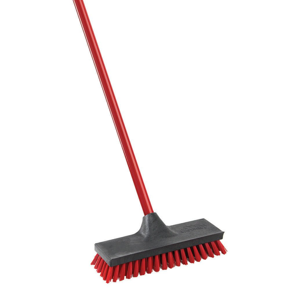 Libman Commercial 547 Floor Scrub, Steel Handle, 10.5' Wide, Red and Black (Pack of 6) 10.5 Wide