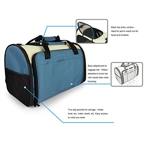 Becko Expandable Foldable Pet Carrier Travel Handbag with Padding and Extension (Blue) by Becko (Image #9)