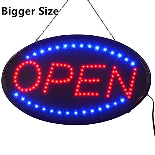 LED Open Sign,23x14inch Larger LED Business Sign,Advertisement Display Board Flashing & Steady Light Open Sign for Business, Walls, Window, Shop, Bar, Hotel]()