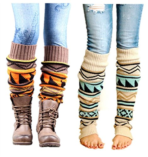 VIGVOG Women's Boho Knitted Warm Long Leg Warmers (Beige&Khaki) (Khaki Clothing Accessories Womens :)