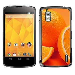 // PHONE CASE GIFT // Duro Estuche protector PC Cáscara Plástico Carcasa Funda Hard Protective Case for LG Nexus 4 E960 / Anaranjado lindo /