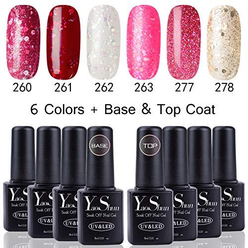 Glitter Led - Yaoshun Glitter Soak Off UV Led Gel Nail Polish Base and Top Coat Sequins Series Colors 8ml 8Pcs/lot #009