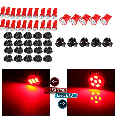cciyu-5X-T10-194-Red-6-3020-SMD-LED-Bulbs-Replacement-fit-for-Clearance-Cab-Marker-Fender-Lights-lamp-20x-T5-Red-Dashboard-Gauge-1-SMD-5050-LED-Wedge-Lamp-Bulbs-Lights-WTwist-Lock-Sockets